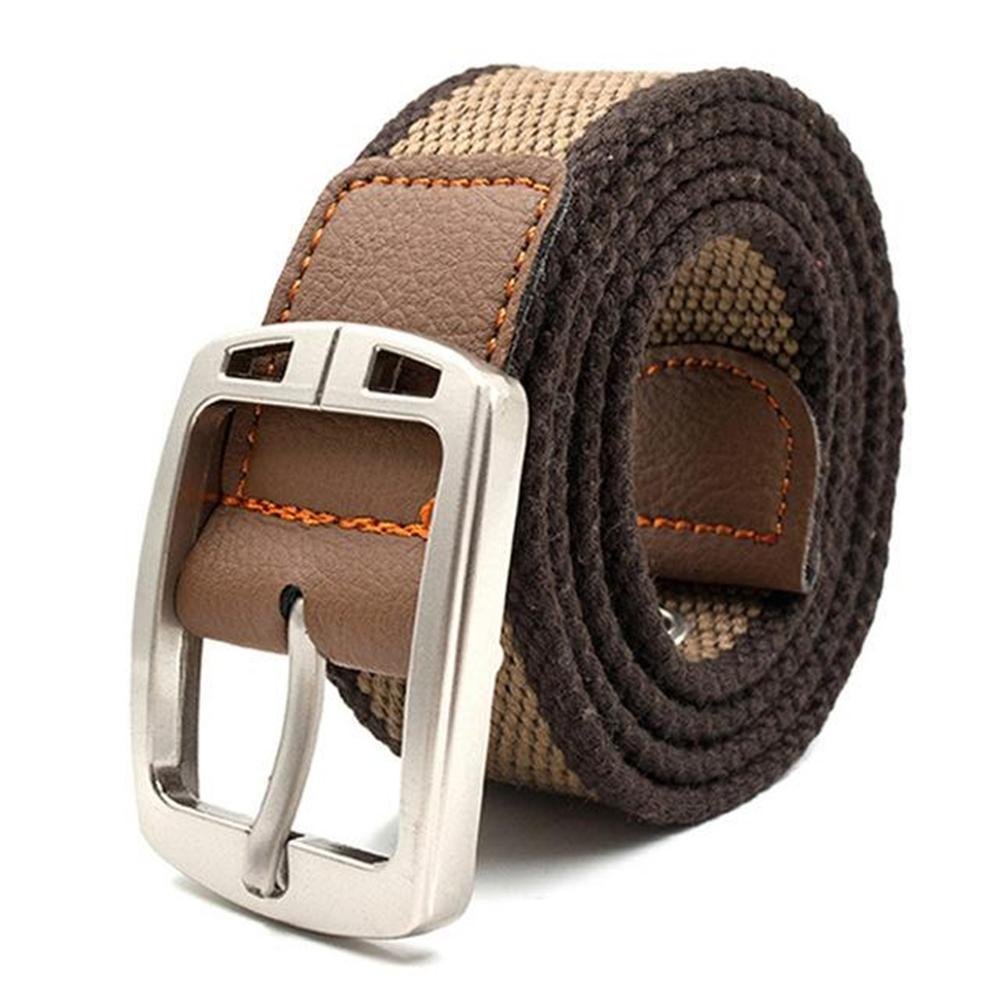 Men's Solid Striped Canvas Knitted Pattern Alloy Buckle Outdoor Belt
