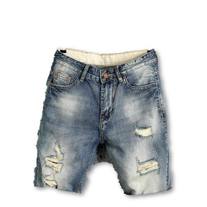 Men's Mid Waist Plain Denim Jeans Hole Pattern Outdoor Shorts