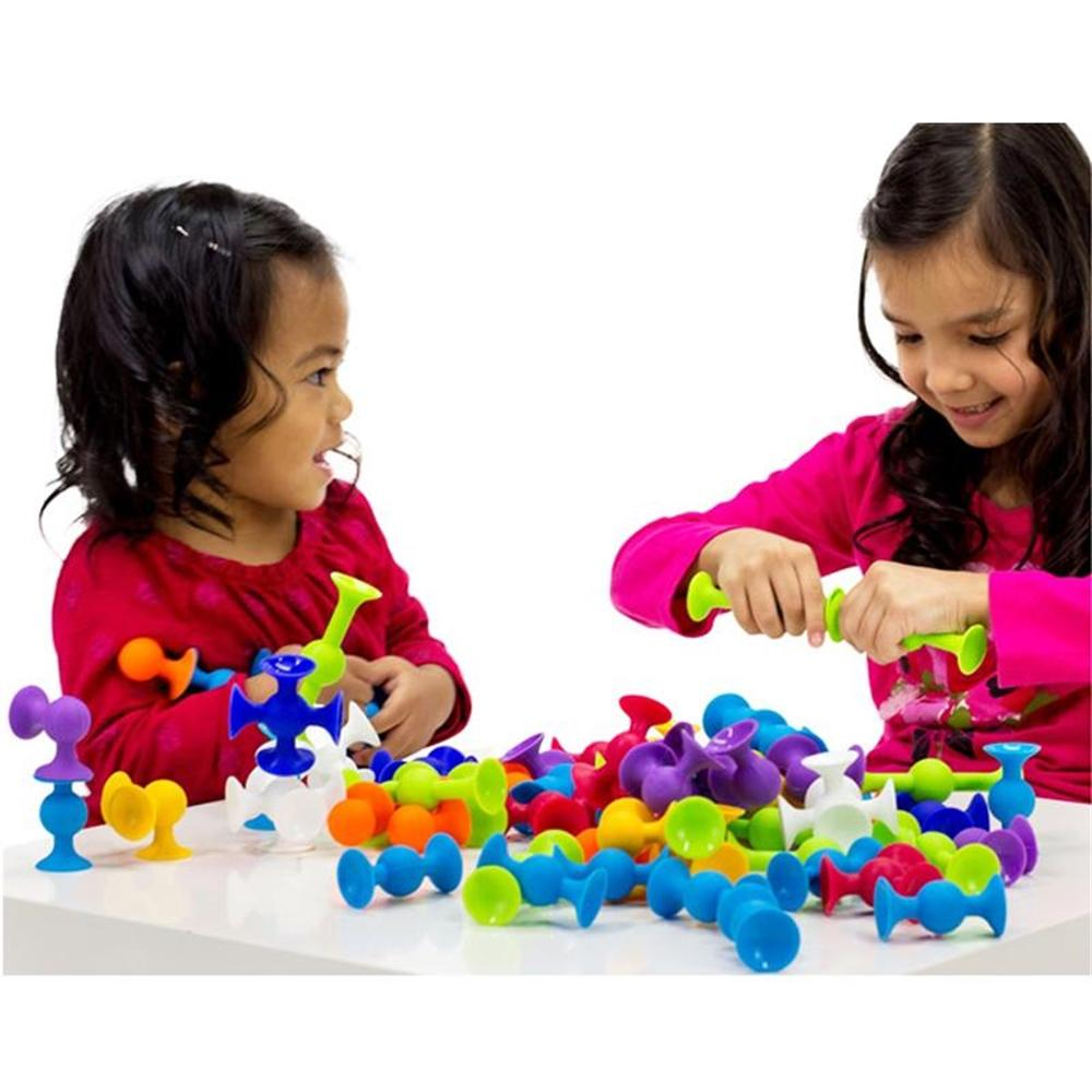 Kid's Soft Funny Silicone Pop Sucker Blocks Building Construction Model Play Set Toy