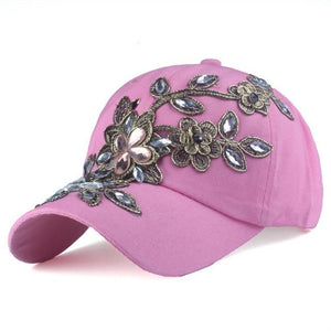 Women's Floral Rhinestone Back Adjustable Closure Denim Hats