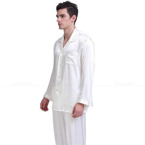 Men's Turn-down Collar Long Sleeve Silk Plain Nightwear Outfits