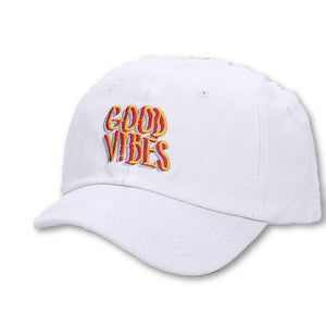 Women's Solid Good Vibes Printed Letter Embroidered Hats