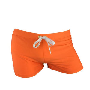 Men's Solid Elastic Low Waist Slim-Fit Plain Swimwear Shorts Outfits