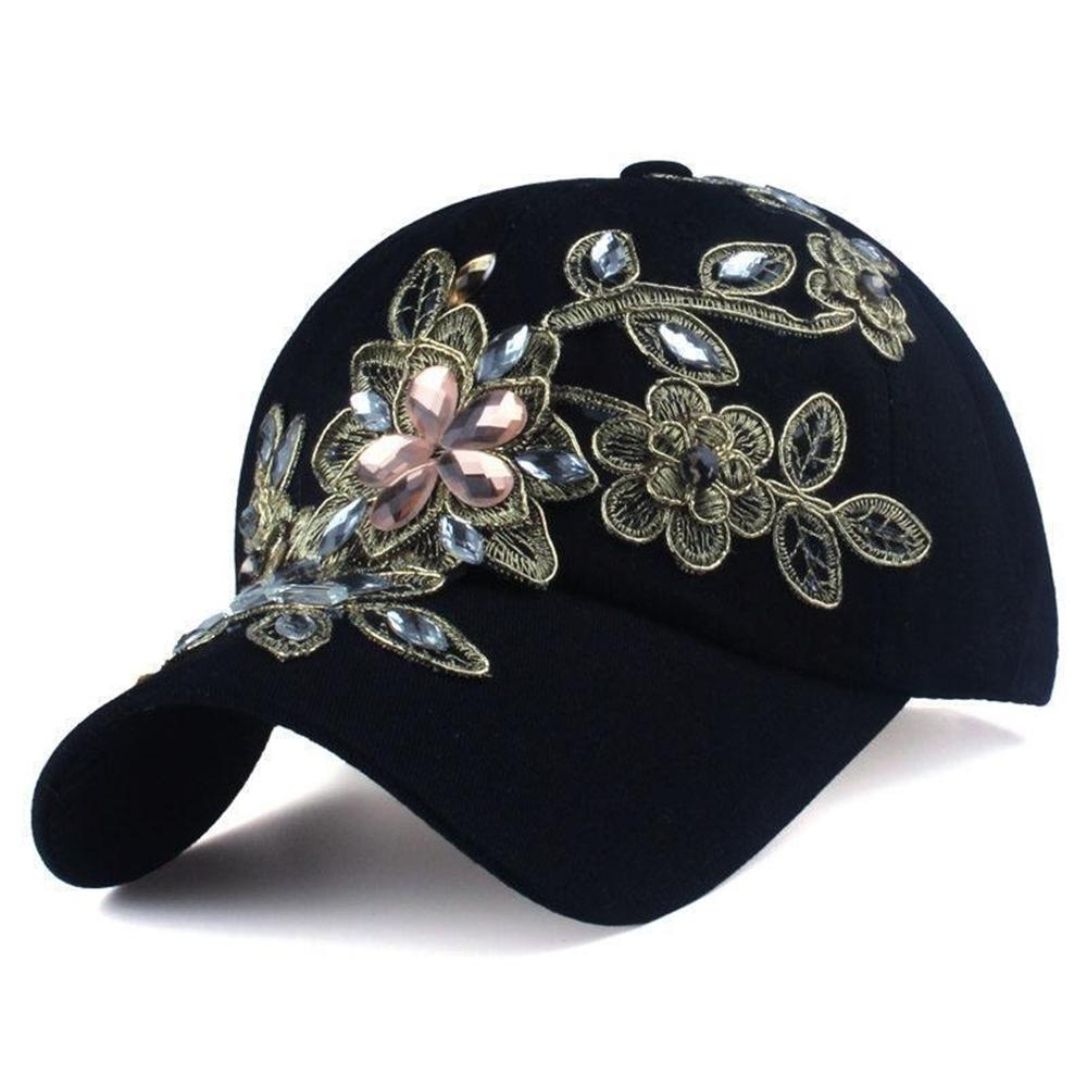 Women's Solid Floral Printed Pattern Canvas Denim Hats