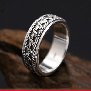Men's 100% 925 Sterling Silver Round Engraved Wedding Vintage Ring
