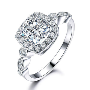 Women's 100% 925 Sterling Silver Square Cubic Zircon Engagement Ring