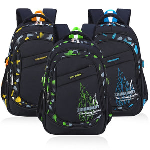 Kid's Nylon Camouflage Open Pocket Zipper Closure Backpacks