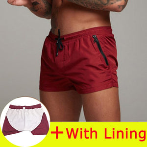Men's Elastic Waist Quick-Dry With Mesh Lining Zip Pocket Beach Shorts