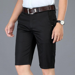 Men's Low Waist Plain Button Zipper Side Pocket Slim Casual Shorts