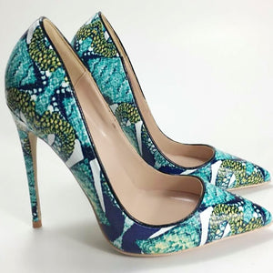 Women's Print Leather Pointed Toe Thin High Heel Pumps Shoe