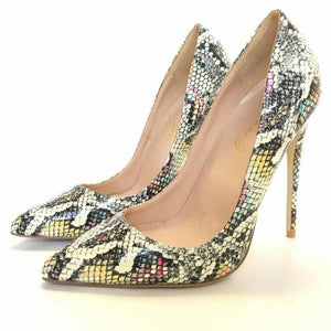 Women's Leather Snake Print Pointed Toe High Heel Pumps Shoe