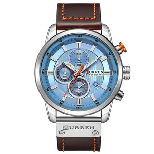 Men's Round Alloy Leather Strap Waterproof Pin Buckle Quartz Watch