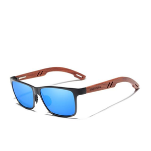 Men's Light Colorful Polarized Lens Wooden Frame Rimless Sunglasses