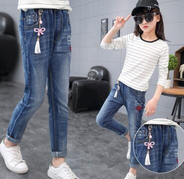 Kid's Low Elastic Waist Patchwork With Side Pocket Slim Denim Jeans