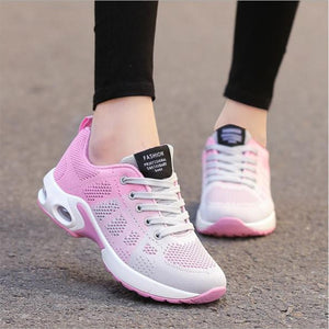 Women's Round Toe Mesh Striped Cross Lace-Up Sportswear Sneakers