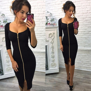 Women's Square Neck Half Sleeve Front Zipper Low Cut Slim Dress