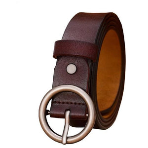 Women's Genuine Leather Strap Round Alloy Ring Buckle Closure Belts