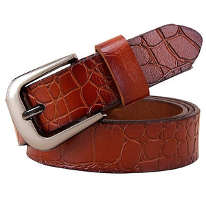 Women's Genuine Leather Strap Square Alloy Pin Buckle Closure Belts