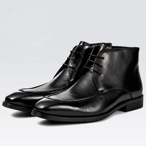 Men's Genuine Leather Pointed Toe Lace-Up Formal Ankle Shoe