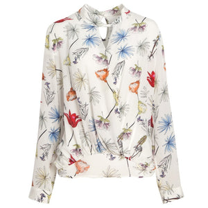 Women's Silk Crepe Stand Neck Long Sleeve Printed Blouses