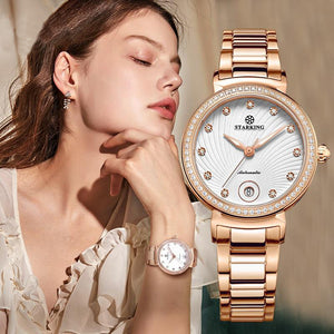 Women's Round Stainless Steel Leather Band Buckle Clasp Watch