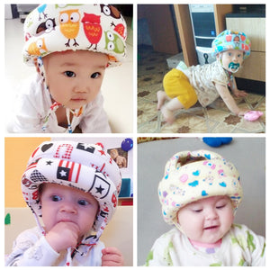Baby's Soft Cartoon Print Anti-Collision Protective Adjustable Hat