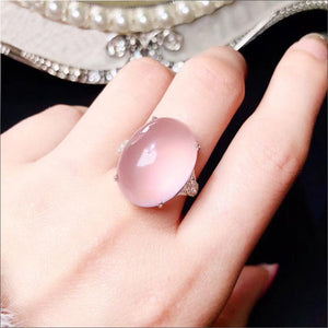 Women's 100% 925 Sterling Silver Oval Natural Rose Quartz Ring