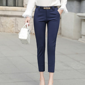 Women's High Waist Plain Button Zipper Side Pocket Formal Pants