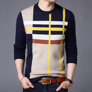 Men's Round Neck Long Sleeve Geometric Print Knit Jumper Sweater