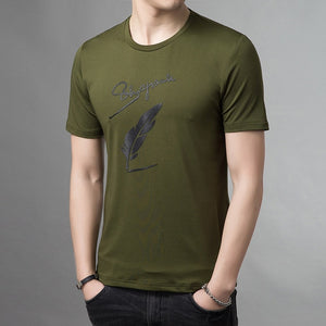 Men's Round Neck Short Sleeve Front Printed Casual T-Shirts