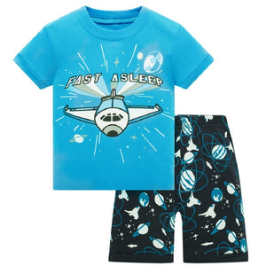 Kid's Round Neck Cartoon Print T-Shirt With Short Pajama Set
