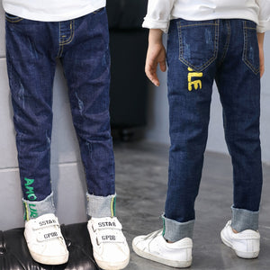 Kid's Low Elastic Waist Plain Ankle-Length Side Pocket Denim Jeans