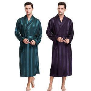 Men's Silk Open Stitch Long Sleeve Striped Knee-Length Bathrobes