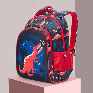 Kid's Nylon Cartoon Print Open Pocket Zipper Closure Backpacks