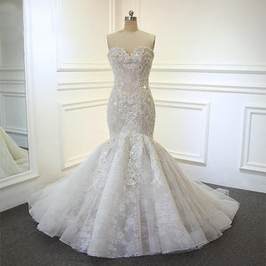 Women's Sweetheart Neck Beading Lace Mermaid Wedding Dress
