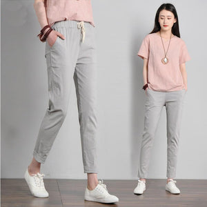 Women's Low Elastic Drawstring Waist Plain With Pocket Slim Pants