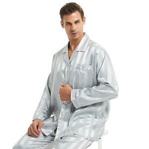 Men's Long Sleeve Striped Button Shirt With Pant Nightwear Set