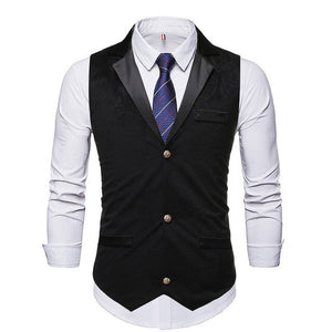 Men's Turn-down Collar Sleeveless Plain Single Breasted Vests