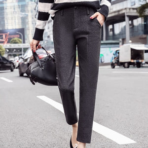 Women's High Waist Plain Button Zipper Pocket Formal Pants