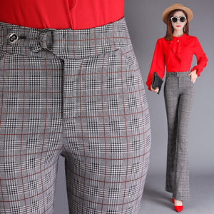 Women's High Waist Plaid Button Zipper With Pocket Formal Pants