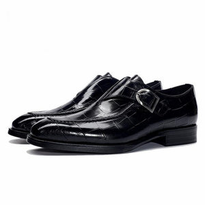 Men's Genuine Leather Pointed Toe Buckle Strap Slip-On Formal Shoe