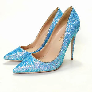 Women's Sequins Leather Pointed Toe Slip-On Pumps Shoes