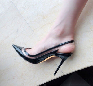 Women's Leather Pointed Toe Thin High Heel Back Strap Shoes