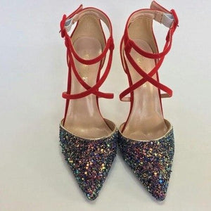 Women's Sequins Leather Pointed Toe High Heel Ankle Strap Sandals