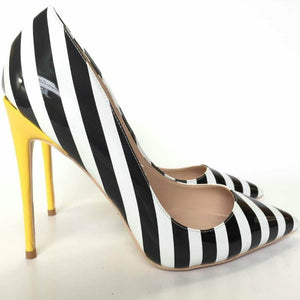 Women's Leather Stripe Pointed Toe Thin High Heel Pumps Shoe