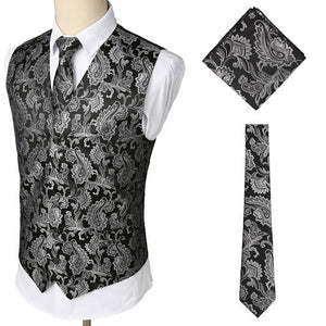Men's V-Neck Sleeveless Print Single Breasted Vest With Tie