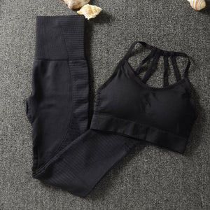 Women's Round Neck Plain Crop Top With Legging Workout Set