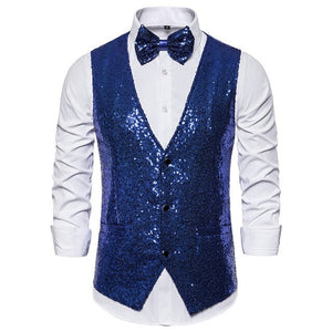 Men's V-Neck Sleeveless Sequins Single Breasted Vest With Bowtie