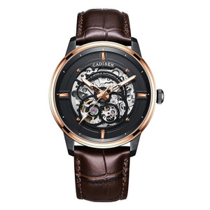 Men's Round Stainless Steel Leather Hollow Skeleton Buckle Watch