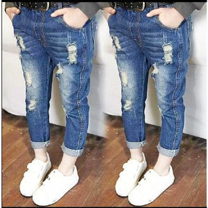 Kid's Low Elastic Waist Ripped Side Pocket Denim Slim Jeans